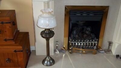 Oil Lamp Brass ? Column Opaque Glass Floral Shade Glass Chimney Old Very Tall