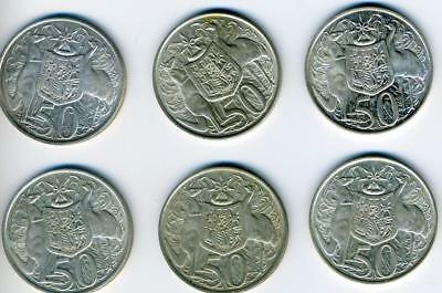 6 Australian 1966 Round Silver Fifty Cent Coins - FREE POST in AUSTRALIA!