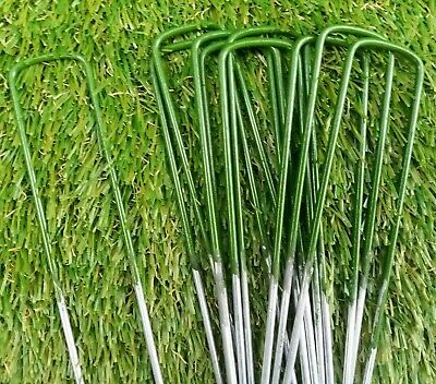 Half Green Artificial Grass Pins Galvanised Metal U Pegs Membrane Staples