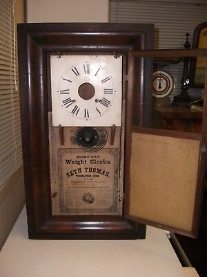 Seth Thomas 8 Day Ogee Clock Case 1880's Original Mirror In Bottom Door G.c.