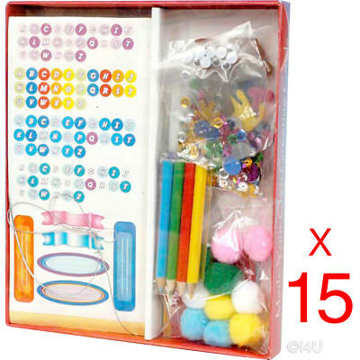 15 x MAKE YOUR OWN GREETING CARD MAKING CRAFT SET STICKERS PENCILS POM POMS EYES