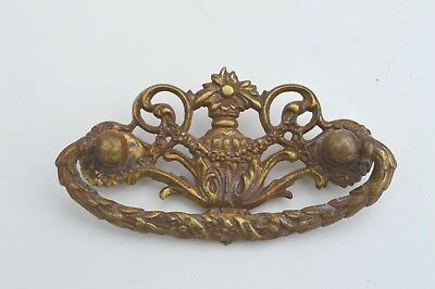 Antique Victorian Era Ornate Bronze Furniture Drawer Pull Hardware French Style
