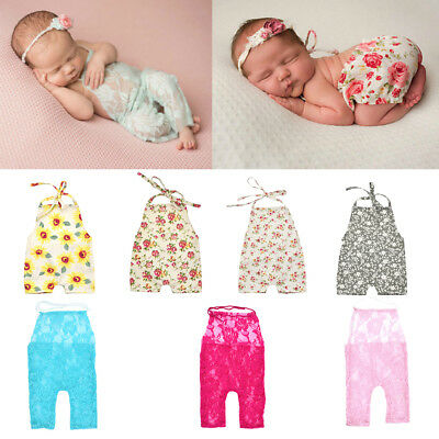 Newborn Baby Girl Boy Romper Flower Print Photo Costume Photography Prop Outfit