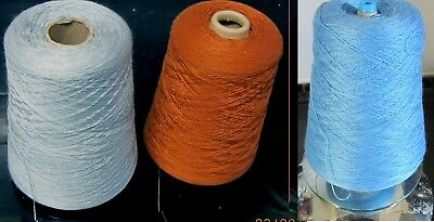 3 CONES SILKY ACRYLIC YARN  - BLUES & TAN  - 1200+ grams MACHINE KNITTING