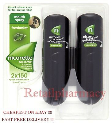 NICORETTE QUICKMIST 1MG NICOTINE MOUTHSPRAY 2 x 150 spray PACK 1 2 3 6 12 (2021)
