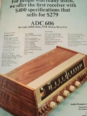 ADC 606 Audio Dynamics Corp Receiver  Solid State FM Stereo Ad Advertisement