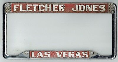 nos las vegas fletcher jones license plate frame embossed holder tag old vintage. Black Bedroom Furniture Sets. Home Design Ideas
