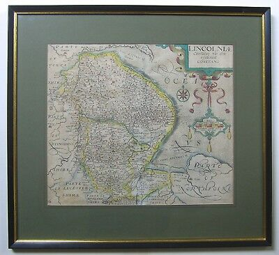 Lincolnshire: antique map by Saxton & Kip, 1607 (1637 edition)