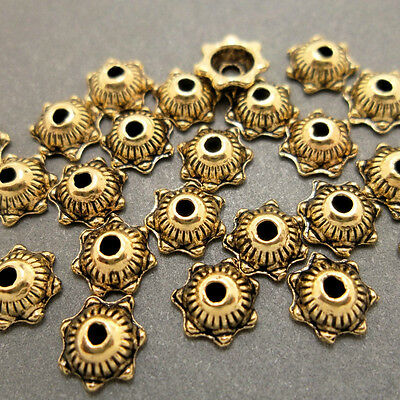 Antique Gold Small Alloy Metal Round Tipped Edge Bead Caps 50 Pieces 5.7mm #0074