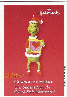 "How The Grinch Stole Christmas ~ ""change Of Heart"" Hallmark Ornament, New In Box"