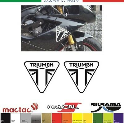 2 ADESIVI TRIUMPH LOGO 2013 FILETTO mm.140x126 STICKERS DECALS PEGATINAS SBK