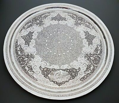EXTREMELY FINE RARE ANTIQUE PERSIAN ISLAMIC SOLID SILVER TRAY BY LAHIJI 528.4g