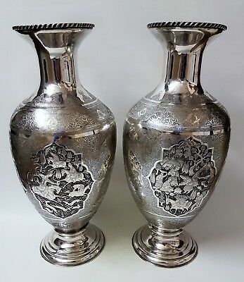 HUGE MUSUEM QUALITY ANTIQUE PERSIAN ISLAMIC SOLID SILVER LAHIJI VASES 5265g 52cm