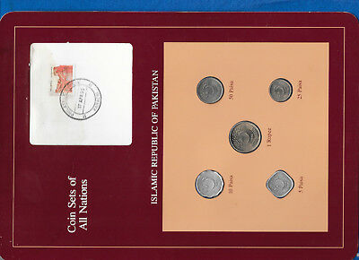 Coin Sets of All Nations Pakistan 1988 UNC 1 Rupee, 50, 25, 10, 5 Paisa