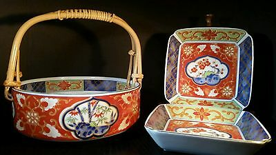 Takahashi Floral Pattern Basket and Plate Set