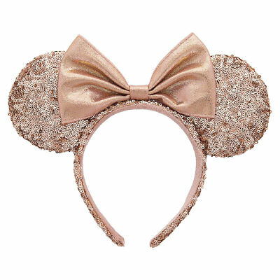 Disney Parks Authentic Minnie Mouse Rose Gold Ears Headband Sequins NWT!