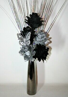Artificial flower arrangement black white glitter nylon flowers in artificial flower arrangement black white glitter nylon flowers in silver vase mightylinksfo