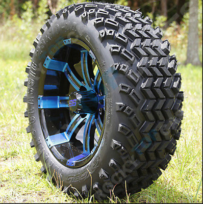 "14"" BLACK BLUE TEMPEST WHEELS 23"" SAHARA ALL TERRAIN TIRES GOLF CART set of (4)"