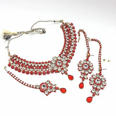 Indian Jewellery Party Ethnic Wear Bridal Bollywood Necklace Set (Colour Red)