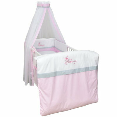 Babybett Kinderbett Juniorbett Weiß 140x70 Bettset komplett Princess