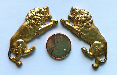 2 Antique MIGHTY ROARING LIONS Brass / Copper Stamping Vintage 1900's VERY RARE