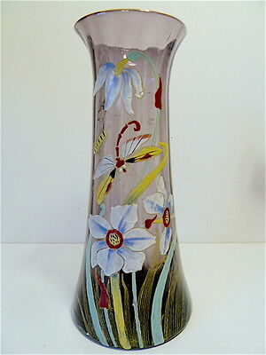 Vase glass enamelled signed Legras Libellule Narcissus 30 cm glass new art 2