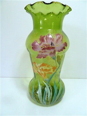 Vase New Art Legras decor flowers enamelled 1900 29 CM