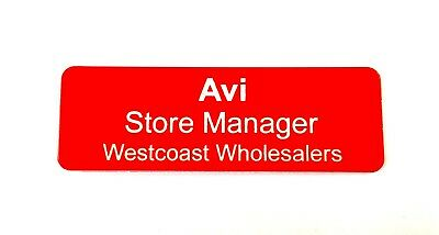 Red Name Badge with white text and pin attached Laserable Plastic 70 x 23 mm