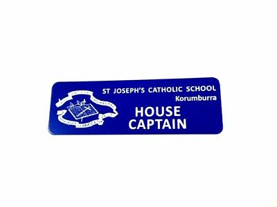 Dark Blue Name Badge with logo + Pin attached Laserable Plastic 70 x 23 mm