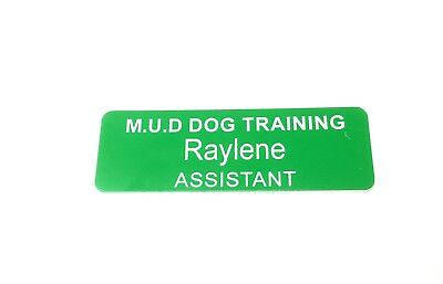 Apple Green Name Badge with White Text + Pin Laserable Plastic 70 x 23mm