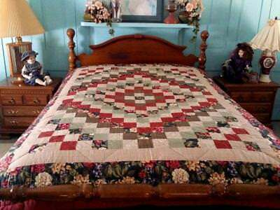 Vintage Around The World Quilt Reversible 9 Patch Quilt 67x87 Never Used