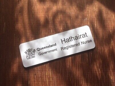 White Name Badge with Black Text + Pin Laserable Plastic 70 x 23mm