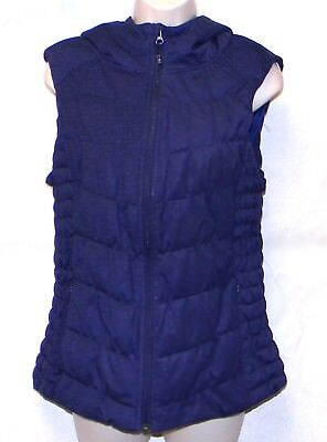 Women's Be By Blanc Noir Blue Hooded Zipper Puffer/Vest Size L