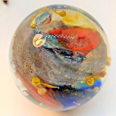 "Attractive GALAXY SWIRL GLASS PAPERWEIGHT with bubble accents, 2.25"" diameter"