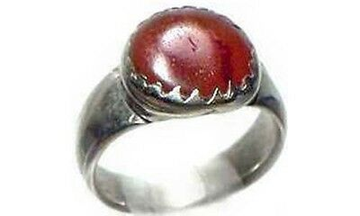 Antique 18thC Byzantine Silver Quartz Carnelian Semi-Precious Gemstone Ring Sz 8