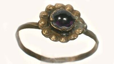 Medieval Rome Byzantine Macedon Flower Ring AD1100 Size 8½ Antique Amethyst