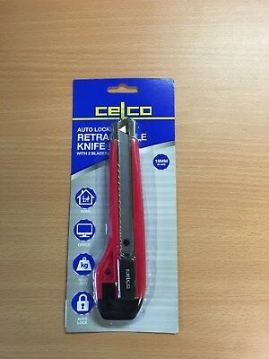 Celco Heavy Duty Auto Lock Retractable 18mm Knife with 2 Blades  *0176821* RED