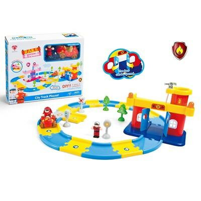 Baby Cartoon Fire Control House with Pull Back Car Assembly City Track Playset