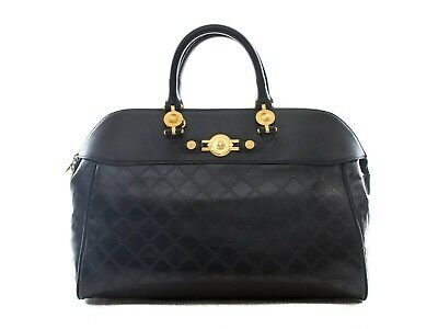 e14f690ae0 AUTHENTIC GIANNI VERSACE black Canvas Medusa handbag shoulder bag ...