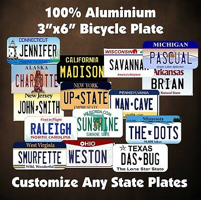 """50 States Any Text Personalize Custom 3""""x6""""  Bike Bicycle License Plate Tag"""