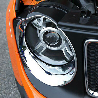 ABS Chrome Front Headlight Lamp Surrounds Cover For Jeep Renegade 2014 2015 2016