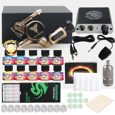 TOP Tattoo Kit Brass Frame CNC Rotary Machine Power Supply IMMORTAL Color Ink