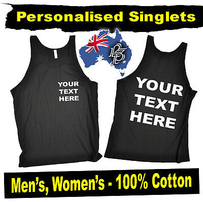 PERSONALISED PREMIUM CUSTOM SINGLETS - Sports gym Men's Womens Vests Vest top