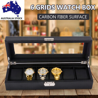 ❤️6 Grids Watch Box Carbon Fiber Storage Gift Case Jewelry Display Organizer