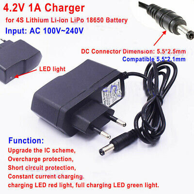EU 4.2V 1A  AC/DC Charger Adapter for 1S 18650 Li-ion LiPo Lithium Battery Packs