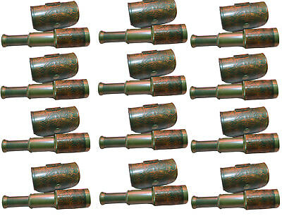 Maritime Brass  Telescope Leather Vintage Spyglass Lens with leather case 12 pcs