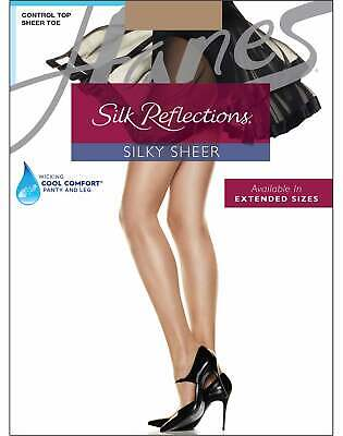 Hanes Pantyhose 4Pack Silk Reflections Cool Comfort Control Sheer Toe Sandalfoot