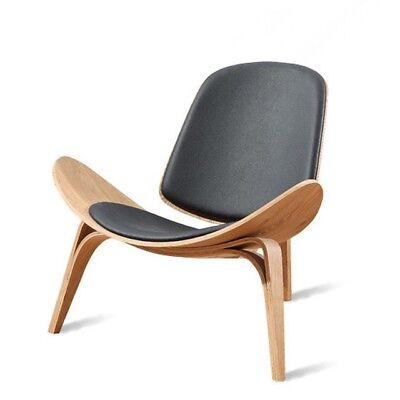 Hans Wegner Contemporary Style Shell Chair Natural Wood Black Retro Chic