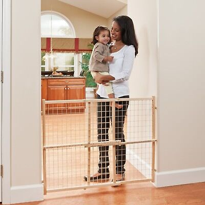 Classic Position and Lock Tall Pressure Mount Wood Plastic Mesh Baby Gate Secure