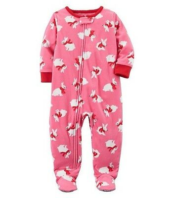Carter's Baby Girls' One-Piece Bunnies Fleece Footed Pajamas, 24 Months, NWT